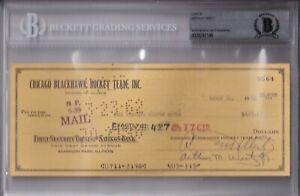 BECKETT ARTHUR WIRTZ SIGNED 1962 CHICAGO BLACKHAWKS OFFICIAL CHECK #5565