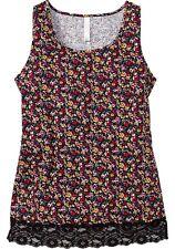 Top mit Spitze Gr.50 Blütentop Blüten Longtop Stretchtop Sheego Shirt Longshirt