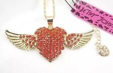 Betsey Johnson Necklace Red  HEART Angel Wings Crystals GOLD LOVE  WORLD PEACE
