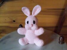 adorable crochet baby bunnyrabbit toy 6in tall pink animal handmade