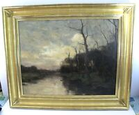 Charles Paul Gruppe Twilight Oil On Canvas Signed ND Provenance Haseltine Label