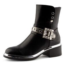 Neu Damen Biker Boots Stiefeletten Schlupf Stiefel Strass 2042 Schuhe Gr. 36-41