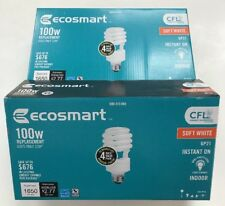 8-EcoSmart 100W Equivalent Soft White Spiral Double Life CFL Light Bulb 2 BOXES