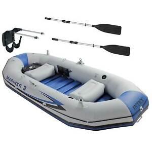 Intex Mariner 3 Person Inflatable Dinghy Boat & Oars Set + Boat Motor Mount Kit