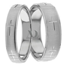 Christian Cross Matching Wedding Band Set 6mm & 4mm Solid 14K Gold Wedding Rings