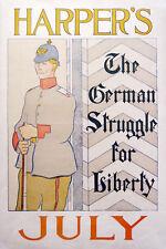 HARPER'S MAGAZINE - German Struggle original 1895 poster by Edward Penfield