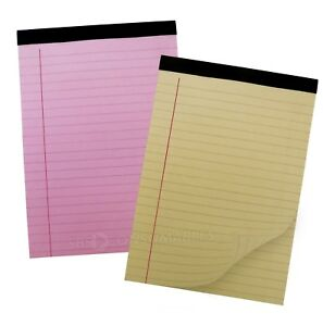 A5 Legal Refill Pad Yellow or Pink. Ruled & Margin 80gsm. Taped & Perforated