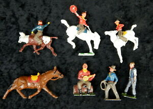 Early Britains Ltd figures Banjo Bull Rider Cowboy Horse Bronco Rodeo Western