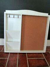 "New listing White wood wall bulletin board Key Mail Holder Organizer 16.5"" farmhouse"