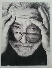 11x14 JERRY GARCIA THE GRATEFUL DEAD CHARCOAL  ILLUSTRATION SIGNED by the ARTIST