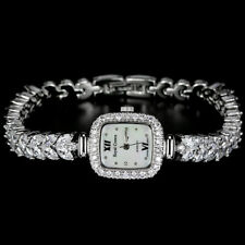 Lovely Marquise Lab Created Diamond Encrusted Stainless Steel Watch 71/4 Inches