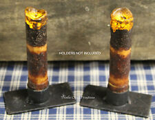 "TWO Primitive BURNT MUSTARD 4"" Battery Operated TIMER DRIP Taper Candles"