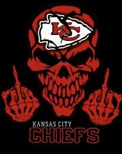 (2) Kansas City KC Chiefs Middle Finger Skull Vinyl Stickers 5x4 Car Decal