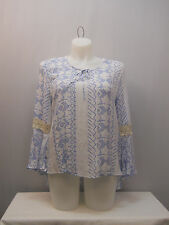 Womens Hi Lo Top SIZE XL COMO VINTAGE Geometric Crocheted Lace Trim Bell Sleeves