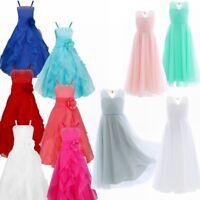 Kid Girls Dress Flower Girl Dresses Party Communion Juniors Long Bridesmaid Gown