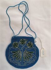 Roses Hand Bag Purse Hand beaded with Beaded strap handles - NWT