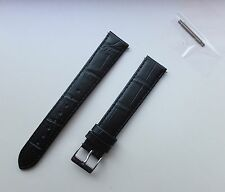 18mm Black XL Extra Long Genuine Italian Leather Matt Finished Watch Band,Strap