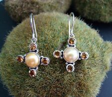 Sterling Silver .925 Handcrafted Cultured Pearl & Citrine Cross Earrings