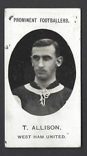 TADDY - PROMINENT FOOTBALLERS (NO FOOTNOTE) - T ALLISON, WEST HAM UNITED