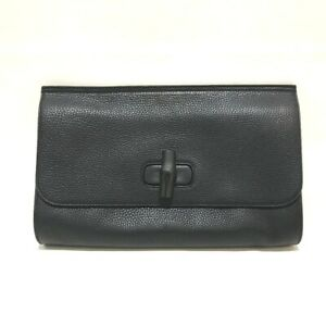 GUCCI Bamboo Clutch bag Black Bamboo x Leather 387220