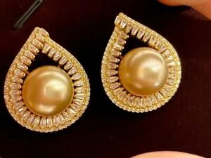 AAA 12-13 mm natural  round gold South Sea pearl earrings