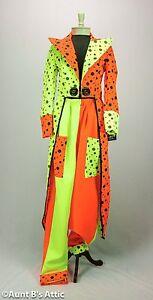 Clown Costume Quality Ladies Deluxe 3 Piece Neon Orange & Yellow Clown Tuxedo