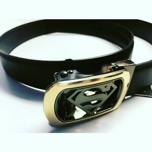 Mens Superman Leather Belt Plus Adjustable Buckle