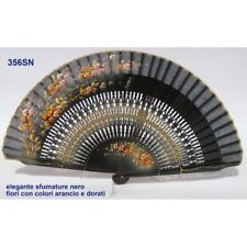 Hand fan in wood black,black cotton with designs floral patterns. Suitable for