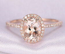 1.30 Ct Oval Solitaire Diamond Wedding Ring 14K Solid Rose Gold Rings Size 6.5