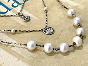 NEW $188 Sundance Catalog Pearl Lotus Triple Chain Sterling Silver Necklace NWT