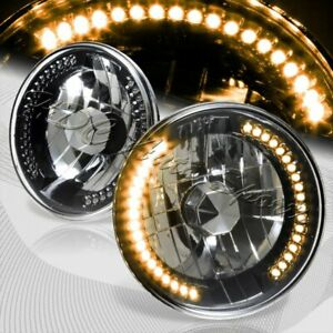 """7"""" Round H6024 H6017 Yellow LED Sealed Beam Black Housing Clear Lens Headlights"""