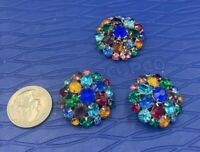 Vintage Large Multi-color Bead Dome Beaded Clip On Cluster Earrings and pin