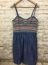 AMERICAN EAGLE OUTFITTERS AE DENIM JEAN SUNDRESS DRESS- Emboridery- NWT