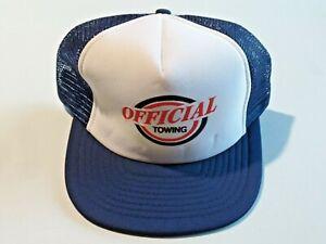 Vtg. Trucker Cap Hat OFFICIAL TOWING Mesh Snap Back Dark Blue Adjustable