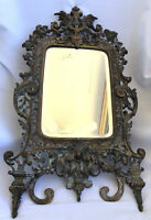 Antique VICTORIAN BRONZE TABLE MIRROR circa 1800 BIG
