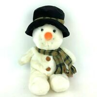 Russ Berrie Snowflake Snowman Beanbag Stuffed Animal Plush Toy Scarf Top Hat