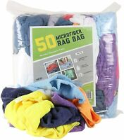 Bulk Lot of 50 Microfiber Cleaning Towel Rags - Assorted Colors 12 x 12 Reusable