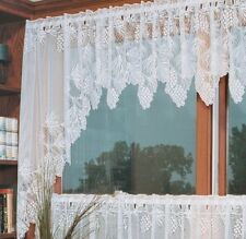 "White Woodland Pinecone Country Lace Wilderness Lodge Window Swags 68""x 40"""