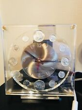 Vintage 1968 Coin Collector Numismatic Marion Kay Clock  Clear Acrylic .Works !