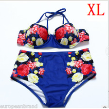 Womens Vintage High Waisted Bikini Set Navy Color Swimwear Swimsuit UK Size XL