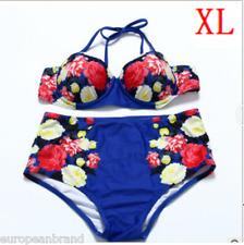 Womens Vintage High Waisted Bikini Set Navy Color Swimwear Swimsuit UK Size XL