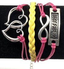 Friendship Bracelet Women Juniors Girls Inspirational Adjustable Pink Yellow NEW