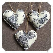 Set of 3 Handmade fabric hanging love hearts silver grey rose shabby chic