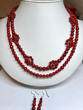 Semiprecious Stone Necklace Red Coral Natural Stone - One of a Kind!!!