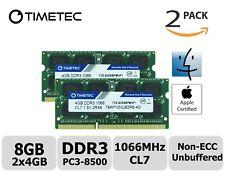 Timetec 2x4GB DDR3 1066MHz PC3-8500 Non-ECC 1.5V 2Rx8 SODIMM Apple Memory RAM