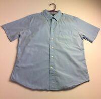 Tommy Hilfiger Men Short Sleeve Button Up Shirt Large L Light Blue Pocket Casual