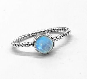 Ladies Moonstone 925 Sterling Silver Ribbed Stone Bubble Ring Gemstone Jewellery