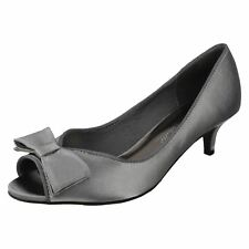 Ladies Anne Michelle Satin Occasion Wear PEEP Toes F10308 Dark Grey 5 UK Standard