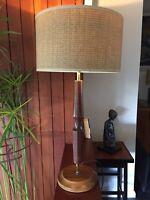 Vintage 1960s 1970s Large Danish Teak and Brass Lamp Base