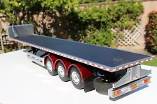 Custom made one of a kind Tamiya 1/14 3-Axle Flatbed Semi Trailer + light Kit